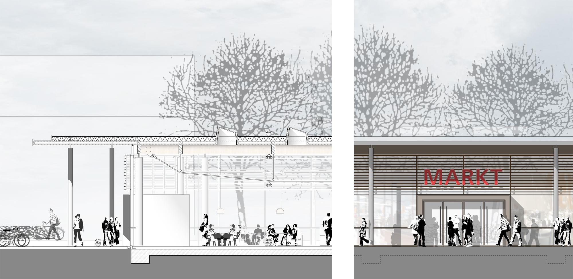 Fassadenschnitt und -ansicht Eingang